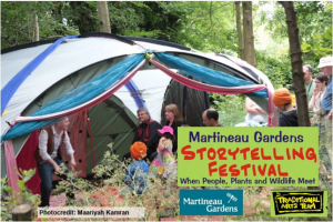 Storytelling in a wooded glade at Martineau Gardens