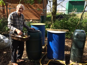 Volunteer John Gale constructing the water harvesting system
