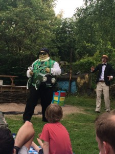 'Poop, poop - the open road Ratty!' Toad, Wind in the Willows, with Folksy Theatre, at Martineau Gardens