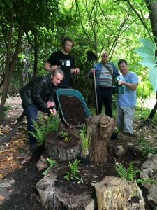Stewart Holmes (L) with garden volunteers putting the finishing touches to a newly landcsaped area
